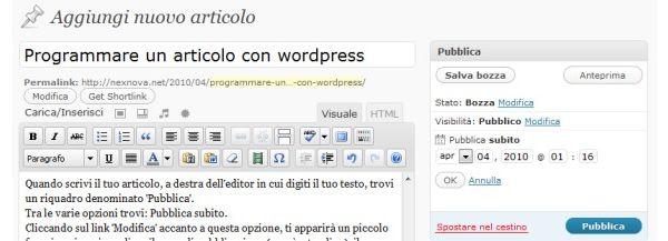 Programmare un articolo con WordPress