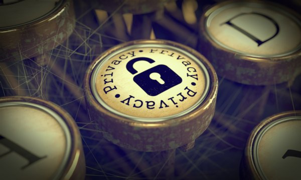 Privacy Typewriter Key. Grunge Background.