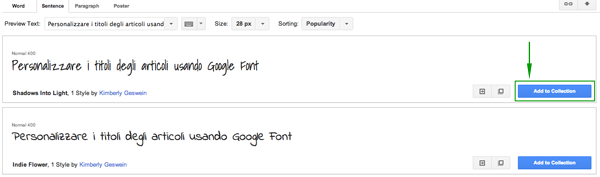 Aggiungere Font