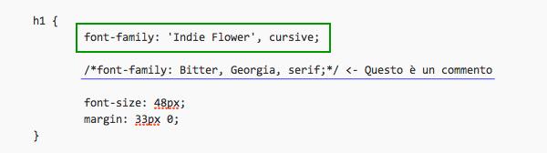 Codice CSS Google Font