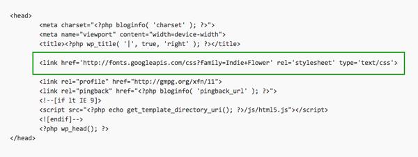 Codice Header per Google Font